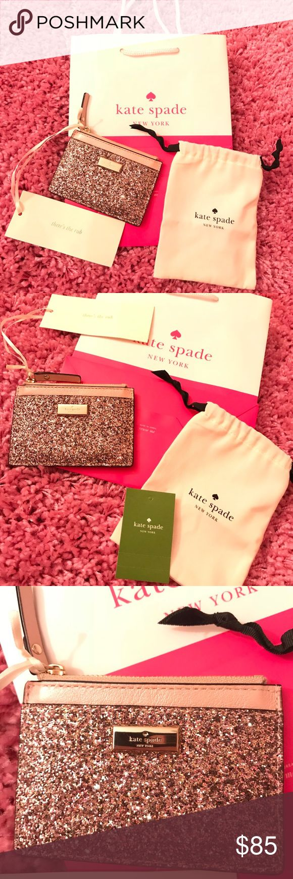 KATE SPADE New York Sunset Lane Adi Wallet Rose Gold  If you like BL!NG! This is Definitely for you! Or... It Makes the Perfect Gift for the Holidays!  Brand New w/ Tag  PET/ SMOKE FREE  100% AUTHENTIC // NO RETURNS  Features:-  ***(Dust Bag & Gift Bag is INCLUDED)***  •Zip Closure •Glitter body with metallic trim •Capital kate jacquard lining •14-karat gold plated hardware •Small coin pouch •2 card slots in back; 1 card slot in front; 1 zip pocket on top •Kate Spade New York signature on…