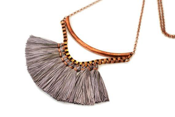 Tassel Necklace Boho Necklace Long Bib Necklace Fabric by gudbling