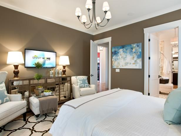 - Master Bedroom Pictures From HGTV Smart Home 2014 on HGTV ((I like the hint of blue in the room))