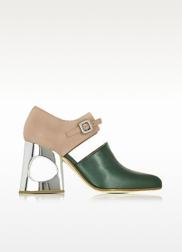 €620.00 | Pine Needle and Rosa Taupe Nappa Mary Jane Pump crafted in nappa calfskin has a retro chic meets modernity vibe and adds a fun yet elegant style to your look. Featuring buckle closure, almond toe, nappa leather upper, gold tone shiny heel with center hole detail and leather sole. Made in Italy.