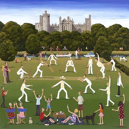 Cricket really like this illustration, the artist has really concentrated on the quirky poses of the players, works really well together, nice style.