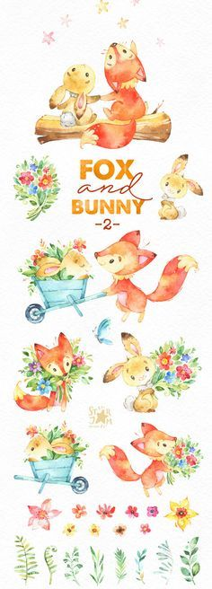 This part 2 of Cute Fox and Bunny set is just what you needed for the perfect invitations, craft projects, paper products, party decorations, printable, greetings cards, posters, stationery, scrapbooking, stickers, t-shirts, baby clothes, web designs and much more. :::::: DETAILS :::::: This collection includes - 39 Images in separate PNG files, transparent background, different size approx.: 12-3in (3600-900px) 300 dpi, RGB See all sets with fox and bunny: https://www.etsy.com&...