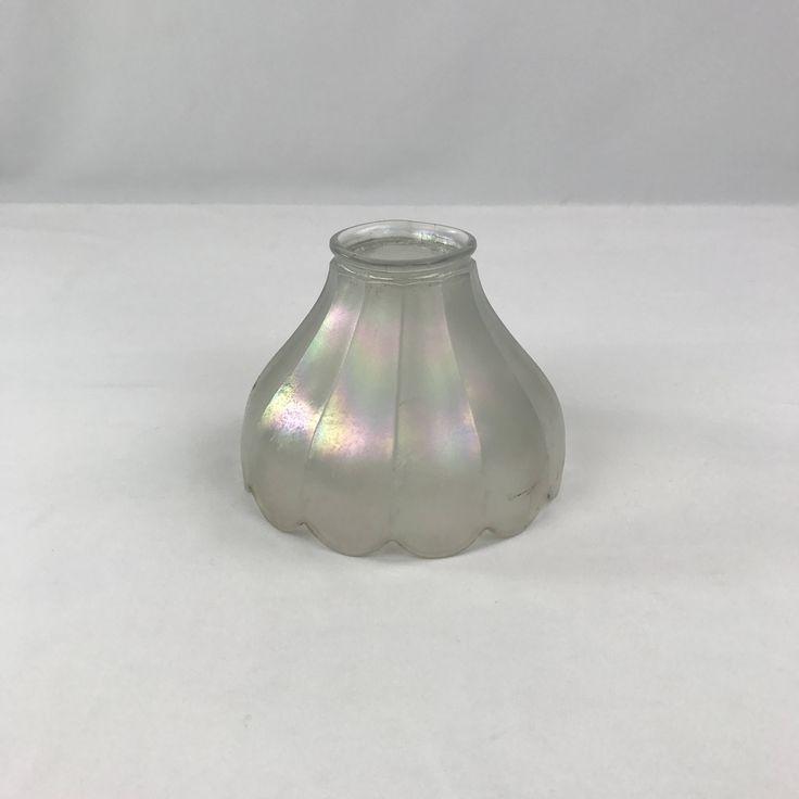 vintage glass lamp shade iridescent flower petal shape lamp shade white glass shade