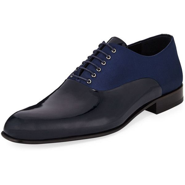 Jared Lang Patent/Satin Oxford Dress Shoe ($160) ❤ liked on Polyvore featuring men's fashion, men's shoes, men's dress shoes, blue, mens blue dress shoes, mens lace up dress shoes, mens square toe dress shoes, mens dress loafers shoes and mens patent leather shoes