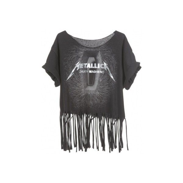Rokit Recycled Black 'Metallica Death Magnetic' Fringed T-Shirt -... ❤ liked on Polyvore featuring tops, t-shirts, fringe top, fringe t shirt, fringe tee, vintage tops and vintage t shirts