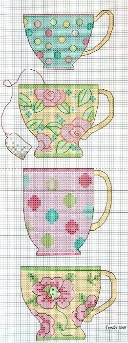 Cross stitch tea cups