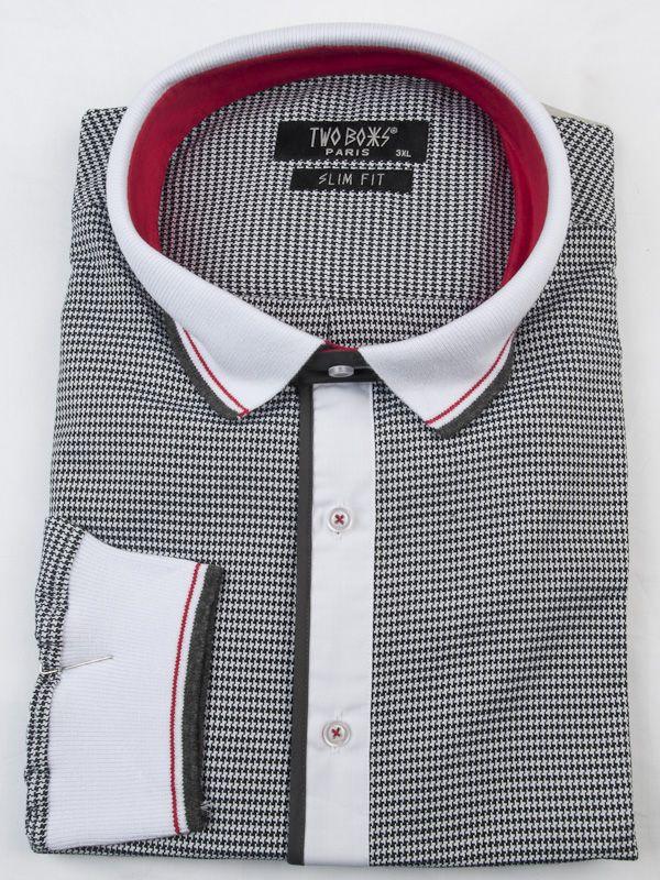 0002601 T& B Shirt-Grey/White/Red