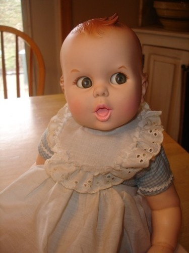 "Vintage Gerber Baby Doll~Original Outfit~17""~Cute Flirty Eyes~"
