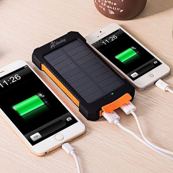 Cargador Solar 10000mAh, Hiluckey Batería Externa Solar Banco de energía Power Bank Doble Puerto USB con LED, Solar Charger Portátil Compatible iphone6 Android-teléfonos móviles,Smartphone(a prueba de golpes a prueba de polvo a prueba de agua): Amazon.es: Electrónica
