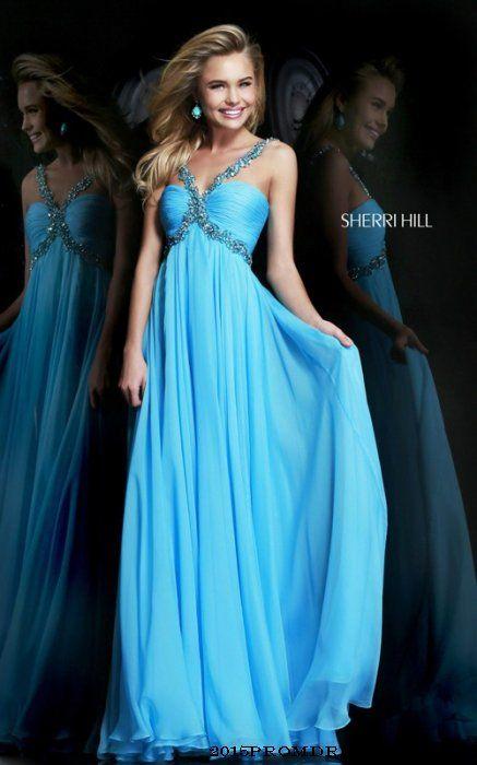 Chiffon #SherriHill 11072 Turquoise Dress 2015