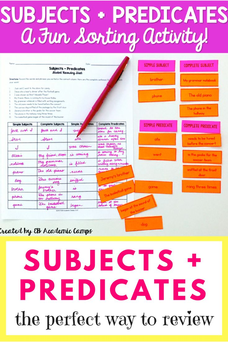 We love this subjects and predicates grammar sort to teach our students simple subject, simple predicate, complete subject, and complete predicate. It's a great way to review as well as introduce the concepts! Enjoy with your middle school students.