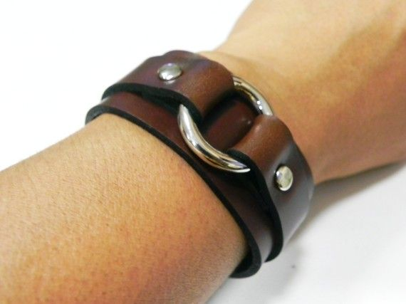 Brown Leather with Metal O Ring Leather Cuff by BeadSiam, $10.00