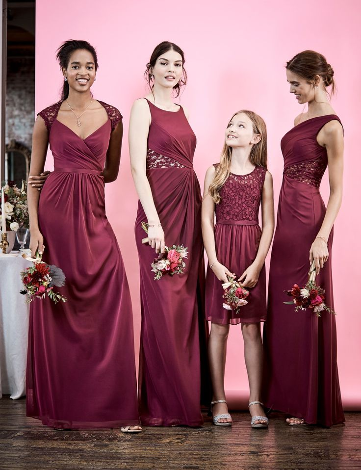 lace bridesmaid dresses in our favorite shade? Yes, please! Shop burgundy bridesmaid dresses (including junior bridesmaids) from David's Bridal