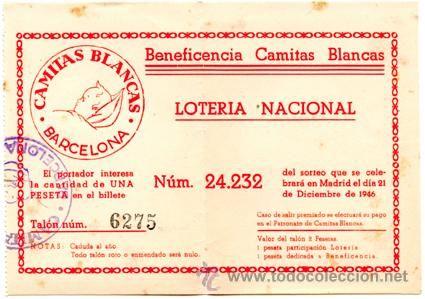Participación *LOTERÍA NACIONAL Sorteo Navidad* año 1946 - Nº 24232 -- Beneficiencia CAMITAS BLANCAS