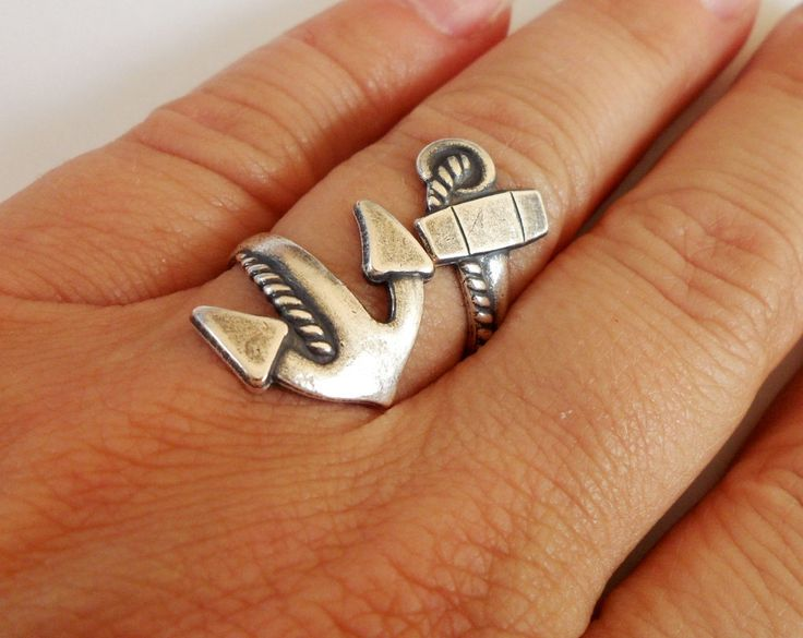 NEW Steampunk Anchor Ring- Mariners Cross- Bypass Ring- Unisex- Sterling Silver Finish. $31.00, via Etsy.