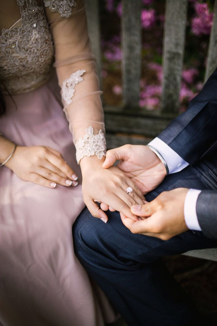 Engagement pictures ring love couple Indian Punjabi nude dress blue suit cute wedding hands flowers trees green
