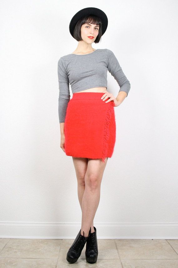 Vintage 80s Skirt Red Skirt Mini Skirt Fuzzy by ShopTwitchVintage