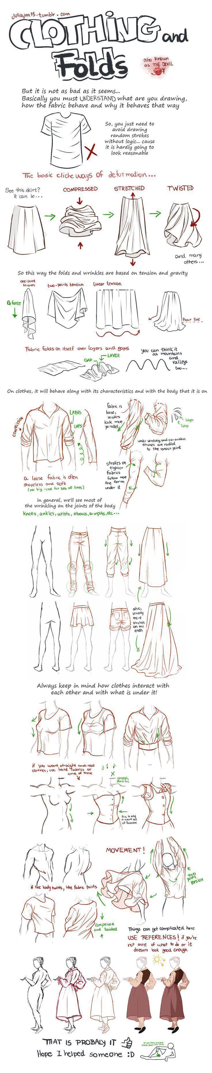 Abbildung zeigt, wie man Stofffalten zeichnet und drapiert. Zeichnen von Falten und