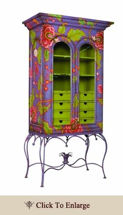 Hand painted, distressed display cabinet.  Persian Violet with Bright Floral Pattern- What a FUN piece of furniture!