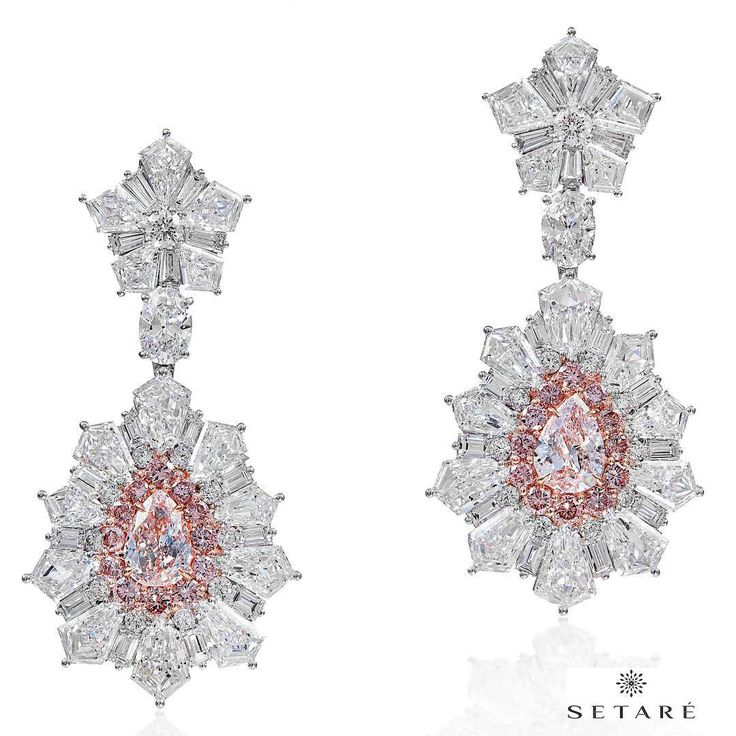 @setarediamonds. The gorgeous pink pear-shaped diamond clusters are elegantly framed with 16.99cts of mixed shape sparkling white diamonds.
