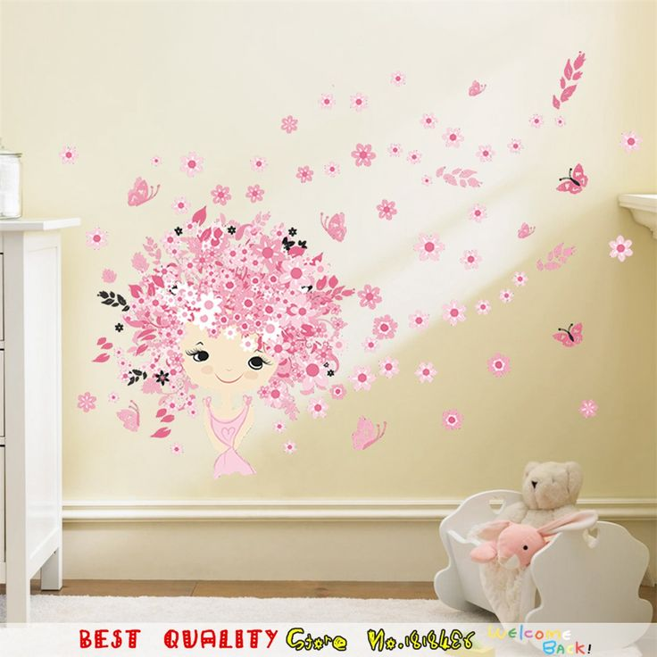Pink Flower Fairy Waterproof Wall Stickers, Plum Blossom Wall Art Decals Kids  Room Decoration Baby Part 58