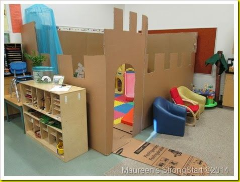 Turn your playhouse into a castle with appliance boxes- what fun!  #ece
