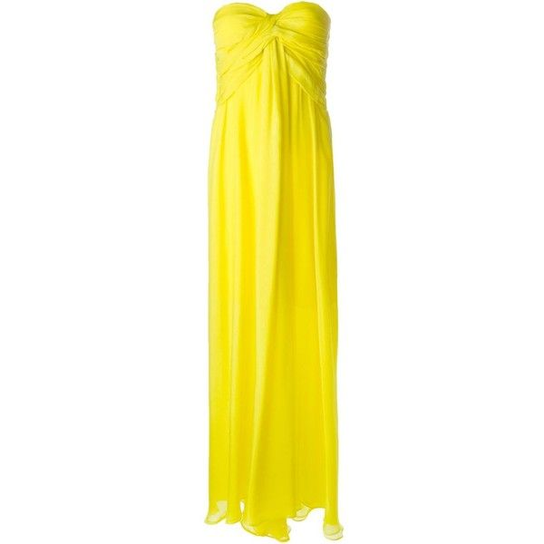 MSGM gathered strapless gown (6.190 DKK) ❤ liked on Polyvore featuring dresses, gowns, iltapuvut, evening gowns, long dresses, yellow strapless dress, yellow gown, long silk dress, silk gown and ruffle dress