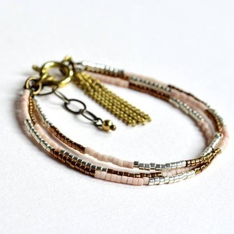 Bronze, Nude, Silver, Pastel Beaded Bracelet - Glass beads - Brass Chain Tassel - Bohemian Ethnic - mewe-accessories.com - 1
