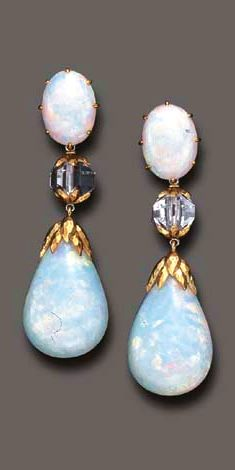 A PAIR OF OPAL EAR PENDANTS, BY DAVID WEBB  Each detachable opal pendant, with a textured gold cap, suspended by a faceted glass bead, from a cabochon opal surmount, mounted in gold, circa 1969 Signed Webb for David Webb