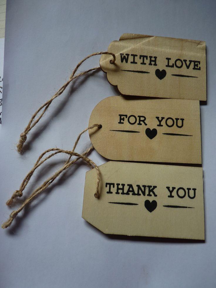 Lot de 3 étiquettes bois avec inscriptions en anglais en noir thème amour et ficelle jute pour cadeau, déco, mariage, : Papeterie, carterie par souvenirs-intemporels