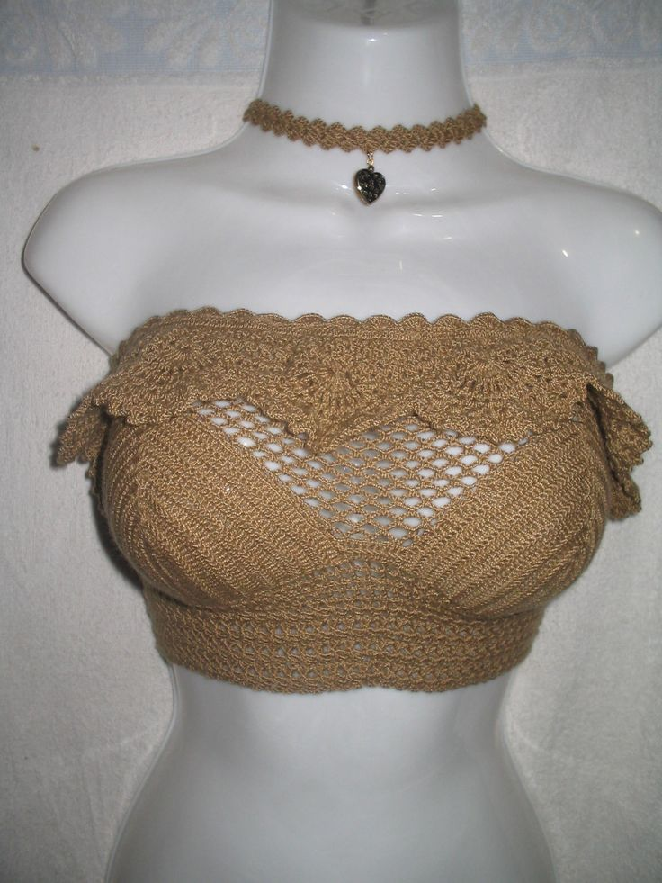 top crop straple y choker tejido a crochet