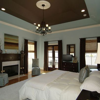 Exceptional Like The Different Color Ceiling....Blue Brown Bedroom.