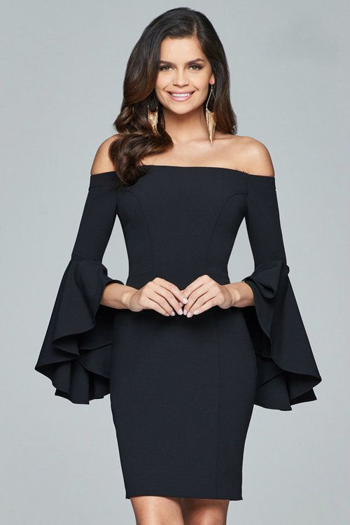 89da7e2a8dc Faviana - S8076 Off Shoulder Short Crepe Cocktail Dress in Black (bell  sleeves, back zipper closure, natural waist, sheath silhouette)