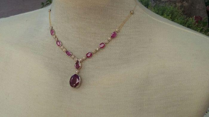 Online veilinghuis Catawiki: Choker ketting met 26,65 ct robijnen en 0,25 ct diamanten – Zonder reserveprijs