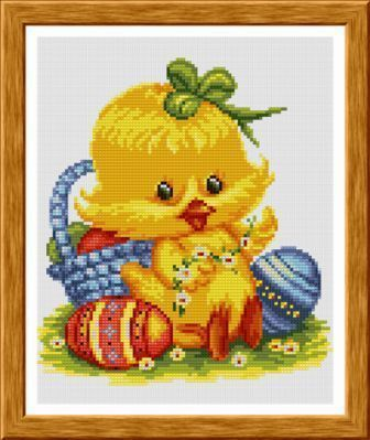 """""""A chicken"""", an embroidered picture, cross stitch pattern"""