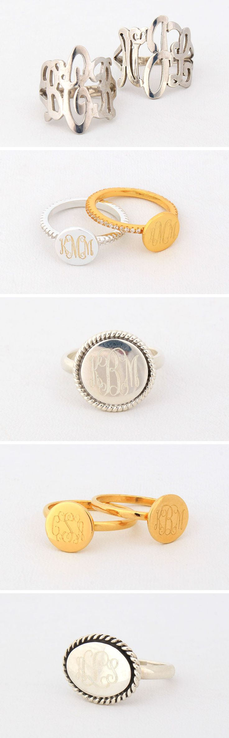 Which monogrammed ring is your fav? Shop Marleylilly.com to find all your #fashion accessories! #monogram #monogrammed #marleylilly