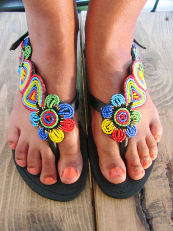 African Handmade Leather Maasai Sandals / Made In Kenya