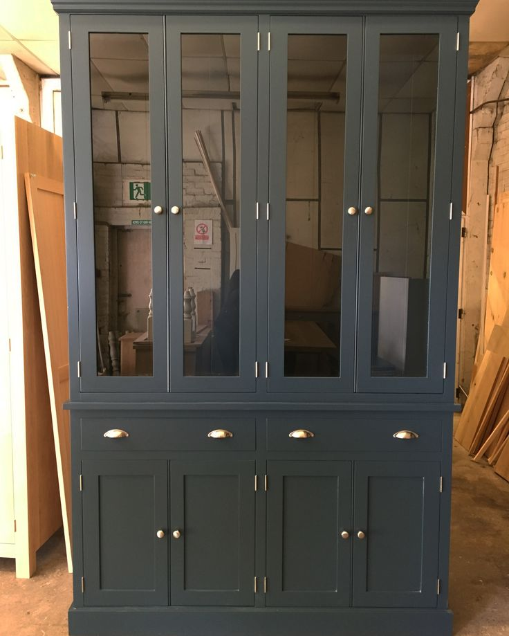 Beautiful Glazed Bookcase Dresser In F B Hague Blue Www Cobwebsfurniture Co Uk