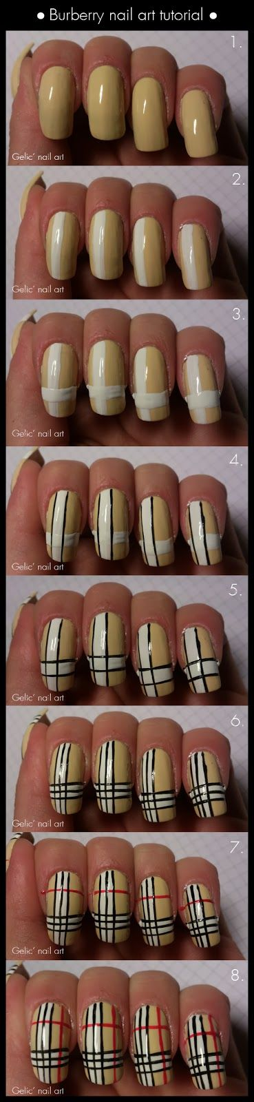 Gelic' nail art: Burberry nail art tutorial