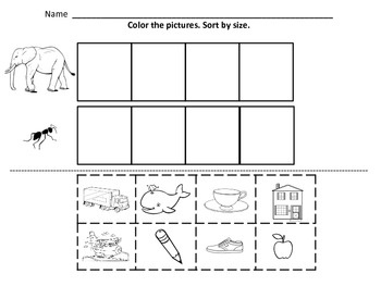 kindergarten math sorting by color by size and by shape worksheets for kindergarten. Black Bedroom Furniture Sets. Home Design Ideas