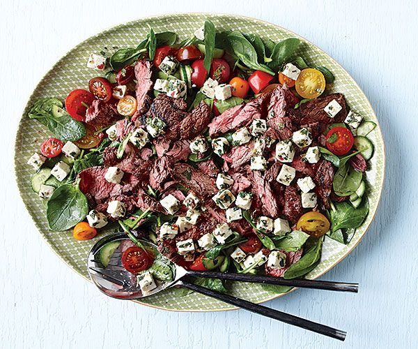 Greek Spinach Salad with Grilled Flap Steak and Feta Recipe