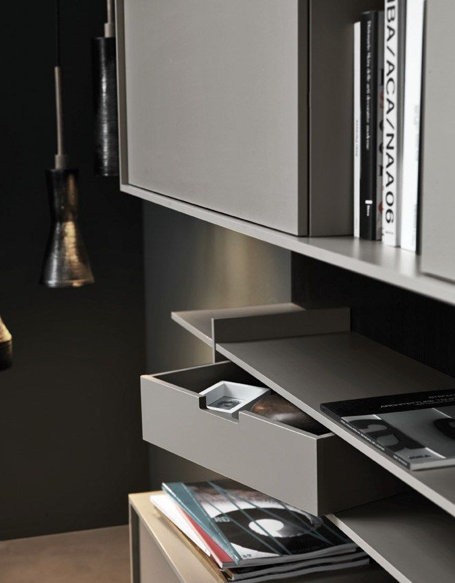 WALL MOUNTED LACQUERED MELAMINE STORAGE WALL C_DAY K14 COLLECTION BY CESAR  ARREDAMENTI | DESIGN GIAN