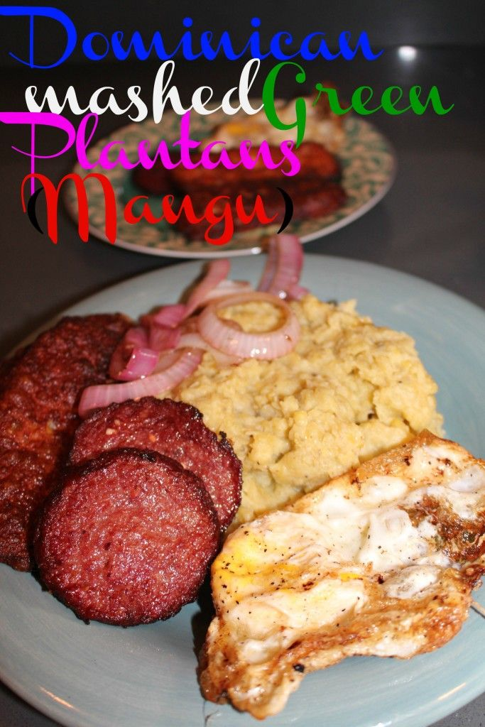 Dominican Mangú (mashed green plantains)- easy and delicious traditional Dominican breakfast. Mashed green plantains with fried eggs, cheese and salami. Get the recipe here!