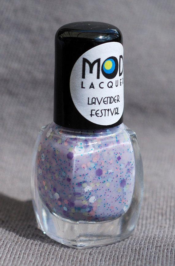 Lavender Festival Glitter Nail Polish Mini  4ml by ModLacquer, $4.00