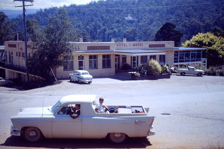 https://flic.kr/p/d1L3o9 | 1967  Marysville Hotel | Carl Henessey's old Chrysler ute stands out front of Darmody's Hotel 2-1-1967 Trevor Harrow in the front seat, Ron Rowe in the back having a beer and waiting for moi to join him. On way to Colac.