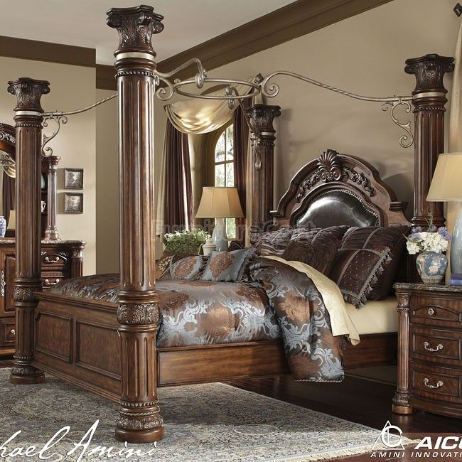 AICO Furniture   Monte Carlo II 4 Piece California King Poster Bedroom Set  With Gentlemenu0027s Chest In Cafe Noir