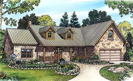 Stone Ranch Home Plan. Outside is so pretty!