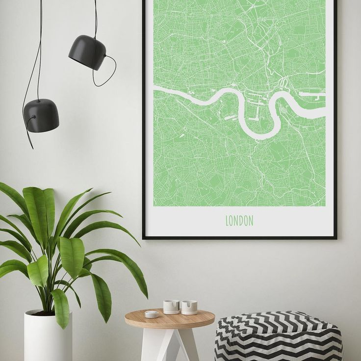 Colorful map poster of London. Summer / Madang / 50x70cm.