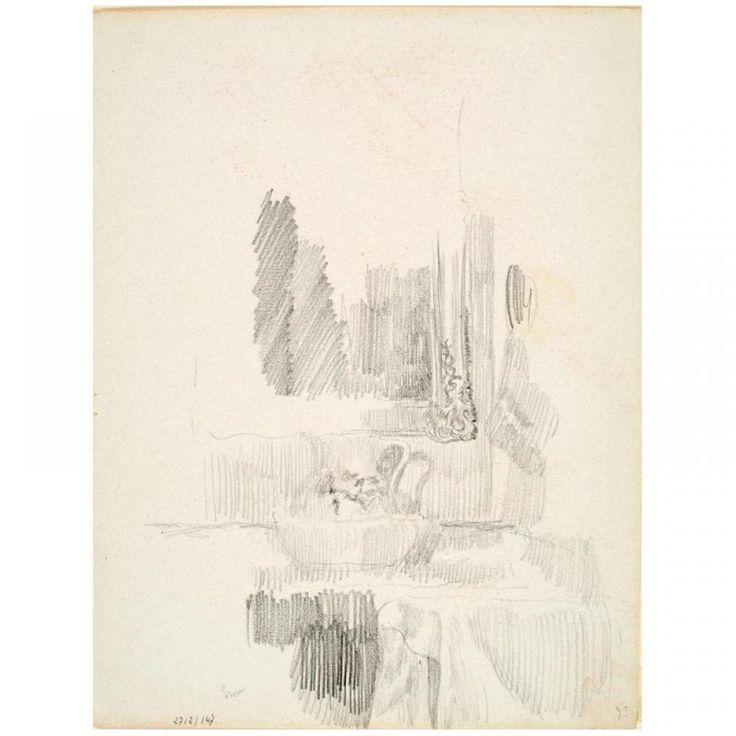 James Ensor, Toilettafel met wasstel en spiegel,  conté, 173 mm x 225 mm, tekening, Koninklijk Museum voor Schone Kunsten Antwerpen
