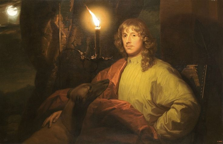 Godefridus Schalcken, Portrait of James Stuart, Duke of Lennox and Richmond, with its Greyhound candlelight, undated, oil on canvas, The Suffering Collection, New York
